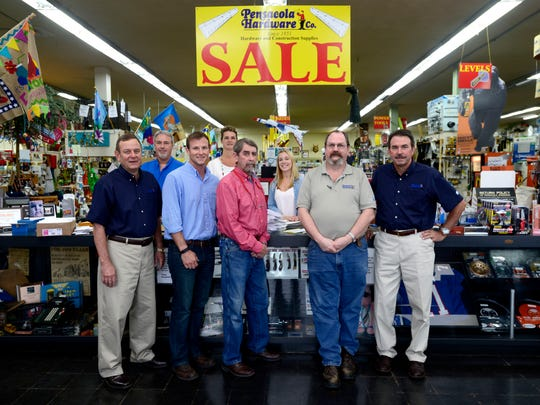 Pensacola Hardware Co. has been in business since 1851, making it one of the oldest retail stores in Florida. Store owners Martin Coe, far left, and Jimmy Coe, far right, are photographed with employees, from left, Bryan Nobles, Mansfield Coe, Susan Mastrianna, Sam Haas, Alyssa Brownell and Ron Clay.