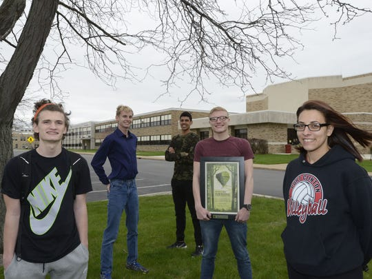From left, Port Clinton High School students Jacob Johnson David Saunders, Marcus Hogan, Jordan Kleinhans and Ebony Kleinhans placed second in Tree City's Film Festival in Sylvania.