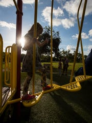 Jasper Anderson, 6, of Cape Coral, practices balancing