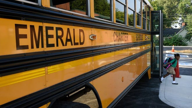 Students arriving for the first day of classes at Emerald Academy, Knoxville's first charter school, Monday, July 27, 2015. Emerald Academy is housed in the former Moses Center on Carrick Street in Lonsdale. (MICHAEL PATRICK/NEWS SENTINEL)