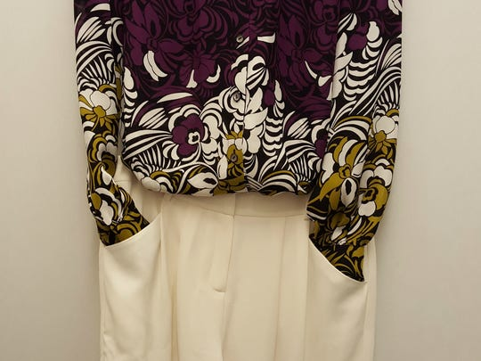 Winter white pant, Layfayette 148, $39.90, and print