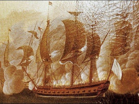 Image of the French frigate Hermione in combat by Auguste Louis de Rossel de Cercy (Public Domain Image in Wikipedia)
