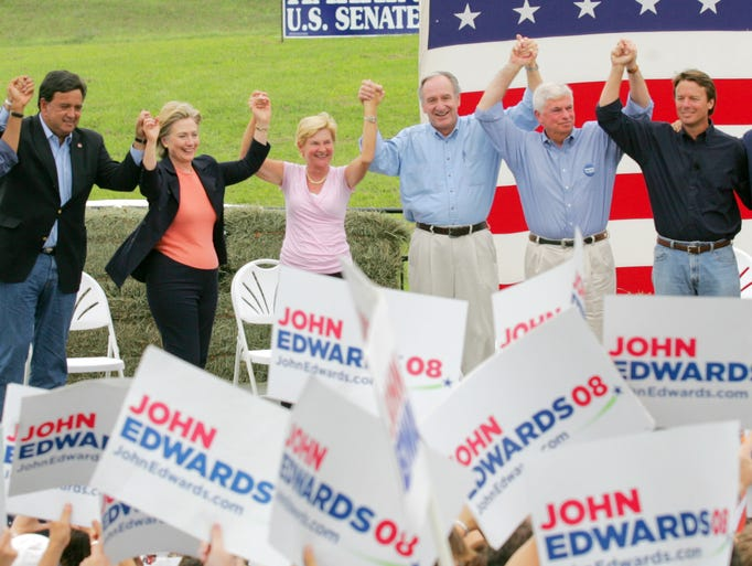 From left: Barack Obama, Bill Richardson, Hillary Clinton,