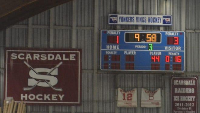Scoreboard at EJ Murray Ice Rink.