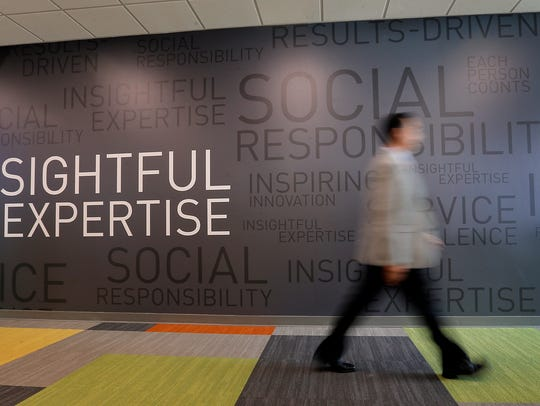 An ADP employee walks through the company's new West