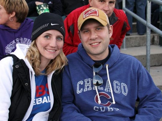 A couple at an Iowa Cubs game.