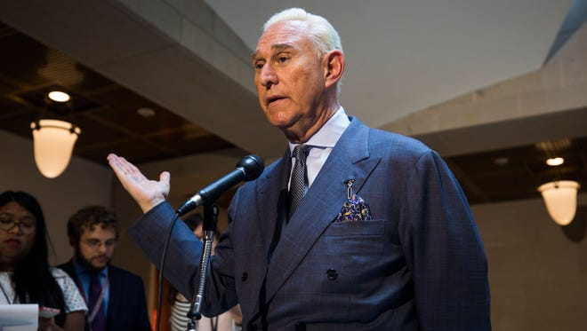 Roger Stone speaks to the media at the U.S. Capitol on Sept. 26, 2017.