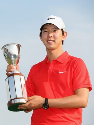 Seung-Yul Noh celebrates his first career PGA victory.