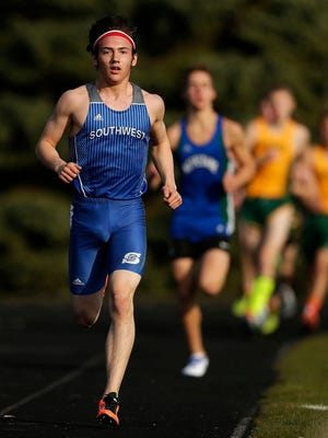 Green Bay Southwest's Alec Basten stays in front of the pack as he competes in the 1,600-meter run on April 14 at Green Bay East High School. Basten will compete in the 1,600 and 3,200 at the WIAA Division 1 state track and field meet in La Crosse.