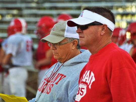 Albany coach Denney Faith (left) and assistant coach David Fairchild (right) oversee practice on Nov. 29, 2017.