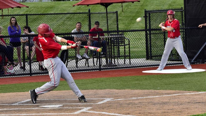 Brock Mathis powers a three-run home run to bring Fairfield back from a 0-7 deficit to tie the game.  The Indians would complete the rally for an 8-7 win over Princeton in the Reds Futures Showcase game. April 19, 2017