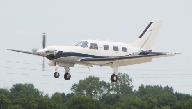 A Piper PA-46 small aircraft, like the one pictured here, crashed near the Adirondack Airport Friday night. Authorities said two couples were aboard the plane and were returning to Rochester when the crash occurred.