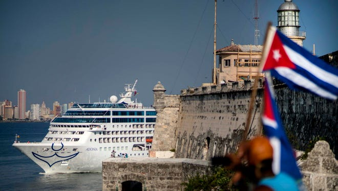 In this May 2, 2016 file photo, Carnival's Fathom cruise line ship Adonia arrives from Miami in Havana, Cuba.