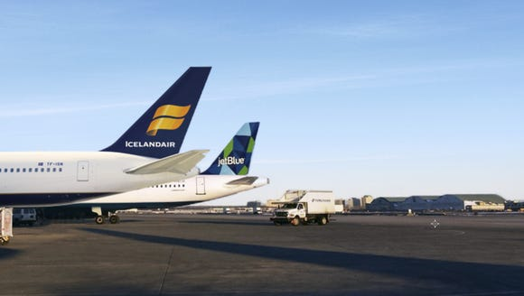 This image provided by Icelandair shows the tails of