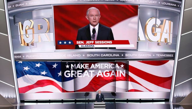 Sen. Jeff Sessions, R-Ala., addresses the GOP convention in July 2016.