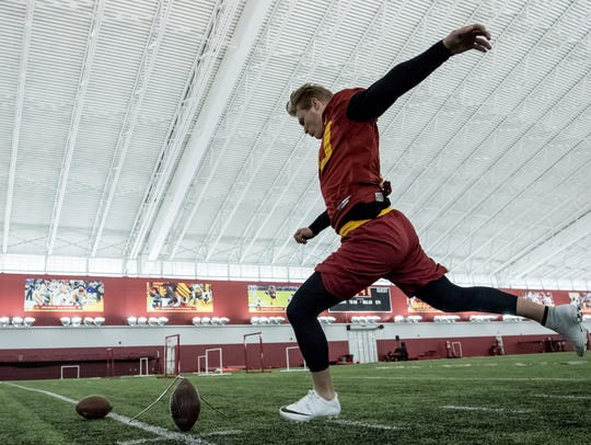 Iowa State kicker Brayden Narveson is already competing