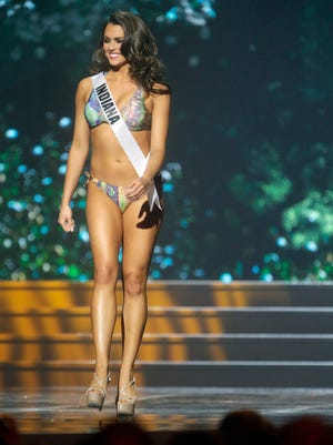 Miss Indiana USA Mekayla Diehl participates in the swimsuit competition during the 2014 Miss USA preliminary competition in Baton  Rouge, La., Wednesday, June 4, 2014.
