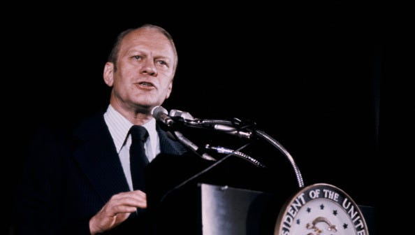 A portrait of Gerald Ford during a press conference on Jan. 1, 1974