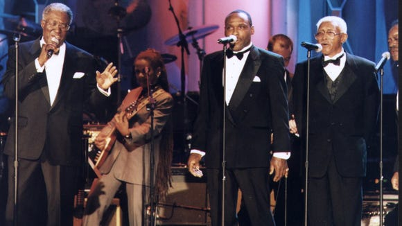 -  Harvey Fuqua, left, and members of the Moonglows performed at their national Rock and Roll Hall of Fame induction in 2000.