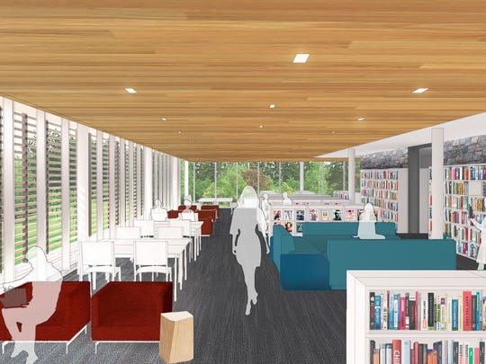 An updated rendering of a room at the Scarsdale Public Library, with renovations anticipated to begin in 2018.