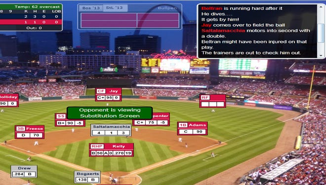 A screenshot of the play in which Carlos Beltran was injured in Game 3 of the 2013 Simulated World Series.