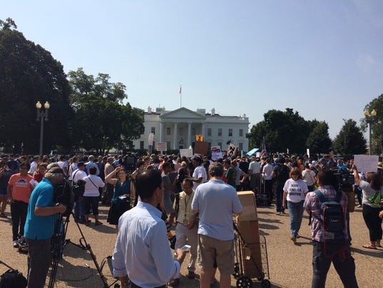 Protesters at the White House after DACA decision announced Tuesday