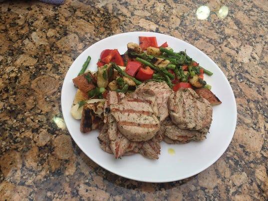 Grilled pork tenderloin with vegetable panzanella salad (Photo ...