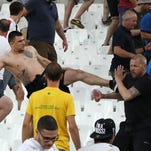 Supporters clash at the end of the Euro 2016 soccer
