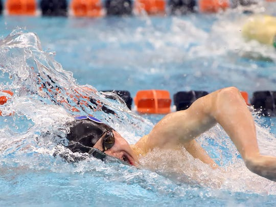 Dallastown's Jacob Stoner swims the first leg of the 400-yard freestyle relay during the PIAA Class AAA swimming and diving championships at Bucknell University Thursday March 17, 2016. The Wildcats finished 11th.                            Liberty's Robert Negron, Emmaus Ethan Carr, during the PIAA 3A Swimming and Diving Championships Thursday at Kinney Natatorium on the campus of Bucknell University.  //////   SPORTS -- CHRIS KNIGHT/ SPECIAL TO THE MORNING CALL -- Shot on 3/17/16