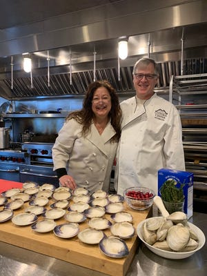 Kim and Tim Rumberger of Hyannis teaching a cooking class at the Cape Cod Cultural Center. Kim will be teaching children's cooking classes through the center, via Zoom, starting July 15.