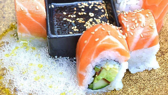 OBON Tsunami sushi with salmon.