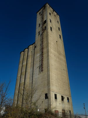 200-foot tall grain tower at the corner of 51st Avenue and Centennial Boulevard near The Nations neighborhood. This old grain tower is the subject of an upcoming ambitious art project from a muralist who will be coming from Australia this spring. Friday Dec. 9, 2016, in Nashville, Tenn.