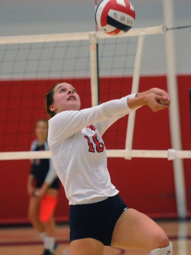 Brookfield East's Victoria Berry #16 saving a volley