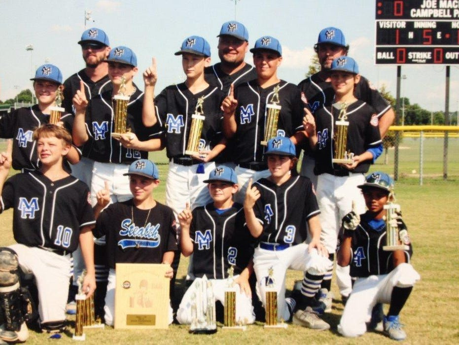 The Mountain Home Stealth 12-year-old All-Stars won their fourth straight state championship in dominant fashion last weekend in Jonesboro. The team defeated Delta 13-0, Fort Smith 16-0, Fort Smith 7-0, Paragould 10-1 and Blytheville 12-1, outscoring opponents 58-2 in the tourney. The team will travel to Blytheville next week for the Southwest Regional Tournament, where it has finished as runner-up the past two seasons. Team members are: first row, from left, Bryce McKay, Brayden Daniel, Clayton Jones, Jake McGehee, Trey Peterson; second row, Carter Graves, Gage Hershberger, Will Uchtman, Dawson Tabor, Logen Walker; third row, coaches Luke Walker and Wes Uchtman and manager Trevor McGehee.