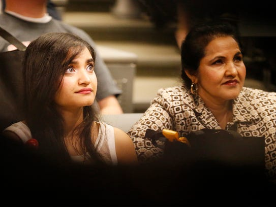 Jaibel Makiyil sits with her mother, Isabella Makiyil,