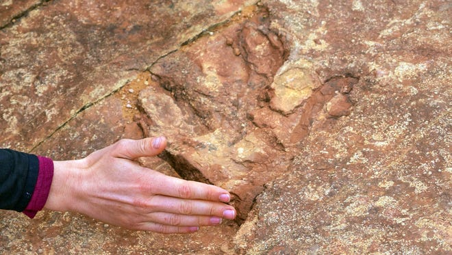 This undated photo provided by the Utah Division of Parks and Recreation shows visitors examining dinosaur tracks at the Red Fleet State Park in Vernal. The site, lined with hundreds of prehistoric raptor tracks, has been heavily damaged in the past six months. Visitors have been dislodging dinosaur tracks imprinted in sandstone and throwing the pieces into a nearby lake, officials said.