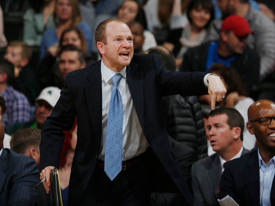 In this Nov. 24, 2015, file photo, Los Angeles Clippers assistant coach Lawrence Frank gestures in the second half of an NBA basketball game against the Denver Nuggets