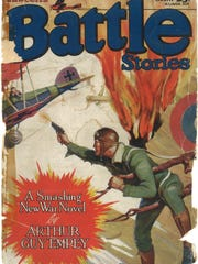 "Cover of Fawcett's Battle Stories magazine, January 1930, featuring the story ""The Ace of Balloon Jumpers"" about James A. McDevitt."