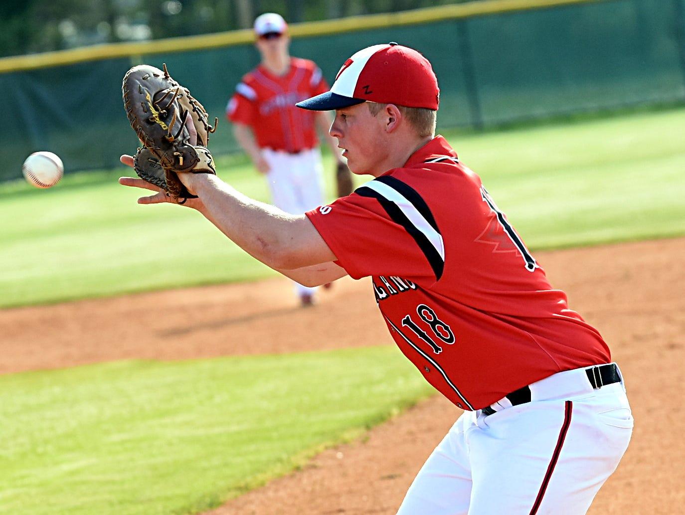 Westmoreland High junior first basman Hunter Crowson fields a second-inning ground ball.