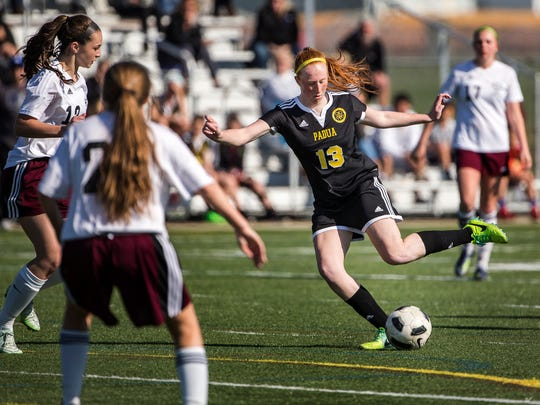 Padua's Megan Mallon puts a shot on goal in the second half of Padua's 4-0 win over Appoquinimink at Appoquinimink High School on Wednesday afternoon.