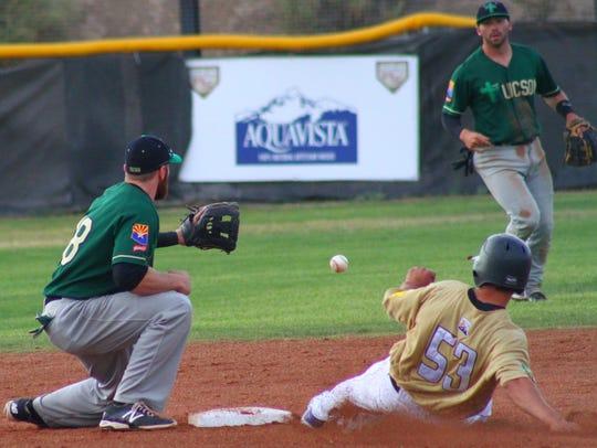White Sands' Adrian Garcia slides into second base