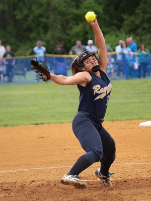 Ramsey's Victoria Sebastian pitches during the county softball championship game at Mahwah High school. Jim Anness / Special to NorthJersey.com      Photo Assignment ID: 00028652A  Slug: Bergen Softball Final  Bureau: Daily Division  Publication: The Record  Desk: Sports