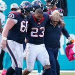 Houston Texans running back Arian Foster tore his Achilles against the Miami Dolphins, Sunday, Oct. 25, 2015 in Miami Gardens, Fla.