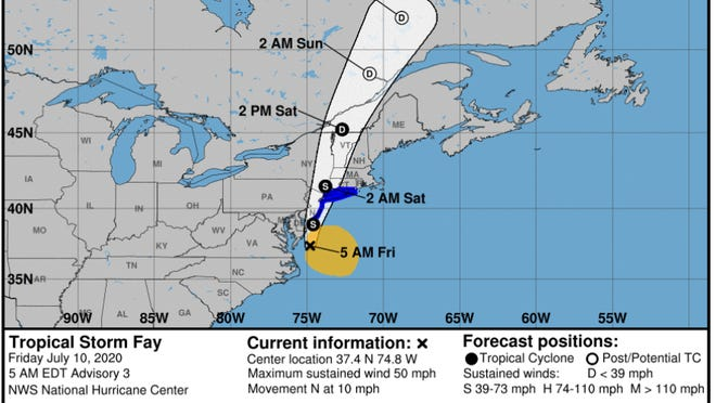 Tropical Storm Fay is expected to drop up to four inches of rain to Sussex County before the system leaves late Friday night.