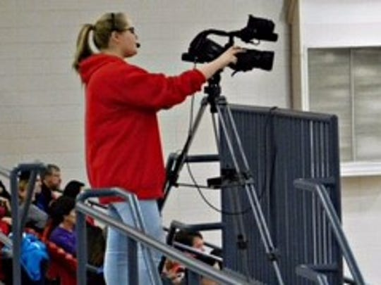 Molly Mayr operates a camera for the RSHS Media Team.