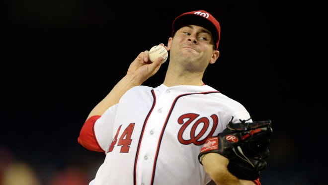 Lucas Giolito pitches during the second inning at Nationals Park.