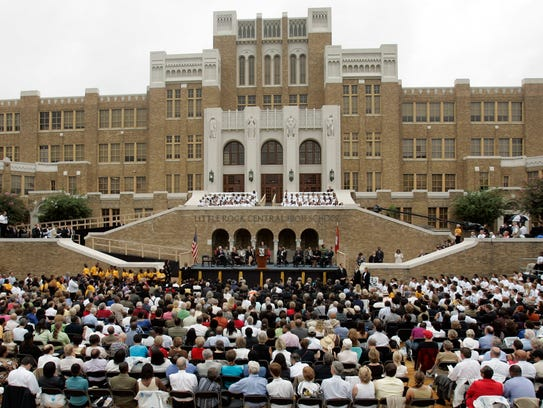 About 4,500 attend the anniversary of the 1957 integration of Little Rock Central High School in Little Rock, Arkansas.