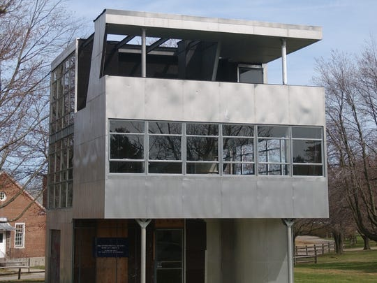 The Aluminaire House was designed by Albert Frey and A. Lawrence Kocher for the 1931  Allied Arts and Industry and Architectural League Exhibition.