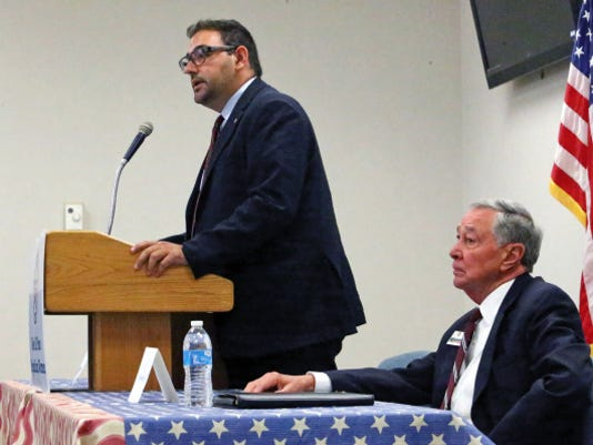 Al Weisenberger, right, and Peter Svarzbein, candidates for City Council District 1 take part in a debate Saturday.