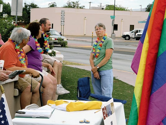 Jane talks to several of her friends and supporters during a celebration of Friday's U.S. Supreme Court ruling.